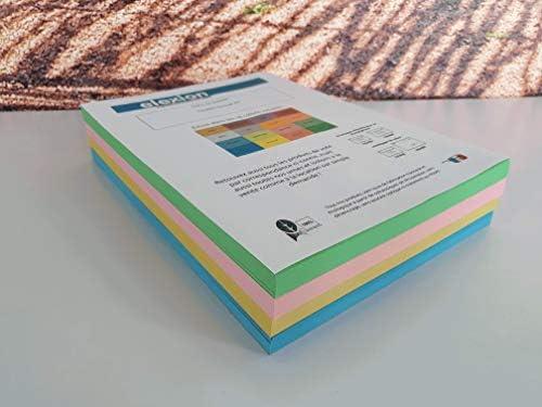 4 x 125 Blatt A4 in 4 Farben hellblau, gelb, rosa, grün, 500 Blatt im Format 21 cm x 29,7 cm