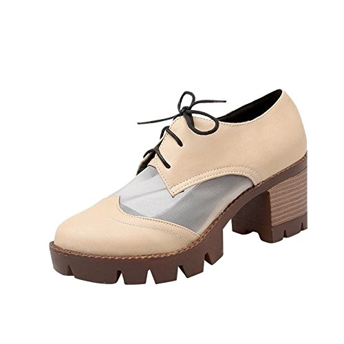 Carolbar Womens Voile Mesh Lace Up Fashion Summer Platform Chunky Mid Heel Oxfords Shoes Albicocca