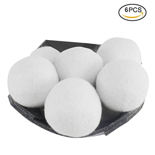 Uarter Wool Balls Eco-friendly Clothes Dryer Ball Reusable Laundry Balls Wool Softeners for Decreasing Drying Time, Set of 6, White