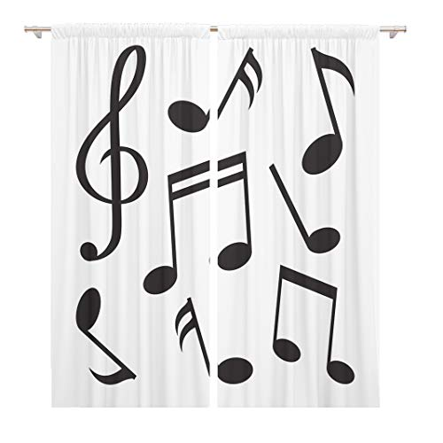Tinmun 104 x 84 Inch Decorative Drapes Flat of Music Notes Black Silhouette Melody Quaver Abstract 2 Panels Window Curtains for Living Room Bedroom Printed (Not For A Moment Piano Sheet Music)