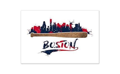 (ArtsyCanvas Red Sox Baseball Bat Skyline Poster (24x16) )
