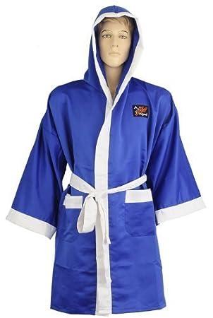 Playwell - Bata de boxeo satinada, color azul: Amazon.es: Deportes y aire libre