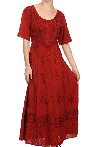 Cap Sleeve Embroidered Dress - Sakkas 15231 - Dannee Adjustable Cap Sleeve Caftan Long Embroidered Stonewashed Dress - Red - S/M