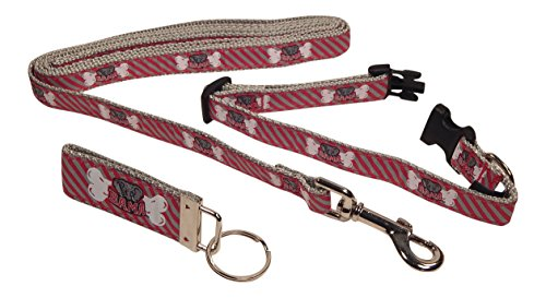 Alabama Crimson Tide Collar and Leash Set, Smaller Dogs, FREE Matching Key Ring (SMALL)