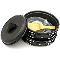Langman Portable Camping cookware Mess kit Folding Cookset for Hiking Backpacking Lightweight