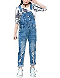 5427fd07dcd7 Girls Big Kid Distressed Bib Overalls Blue BF Style Cuffed Denim Long Jeans  1P