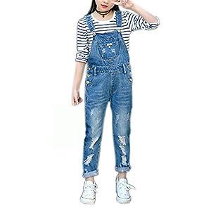 Sitmptol Girls Big Kid Distressed Bib Overalls Blue BF Style Cuffed Denim Long Jeans 1P