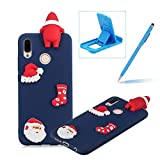 TPU Case for Huawei P20 Lite,Soft Rubber Cover for Huawei P20 Lite,Herzzer Ultra Slim Stylish 3D Christmas Santa Claus Series Design Scratch Resistant Shock Absorbing Flexible Silicone Back Case - Dark Blue