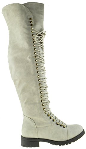 Boot Up High Women Thigh 05 Grey Combat Military Lace Travis wFqIAg8f