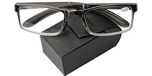 SOOLALA Compact Pocket Non-slip Nose Pads TR90 Folding Reading Glass Mini Reader, Gray, - Glasses Folding Uk