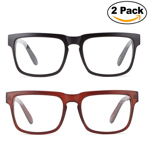 Newbee Fashion - Unisex Squared Frame Plain Clear Lens Fashion Glasses for Men & - Glasses Plain Black