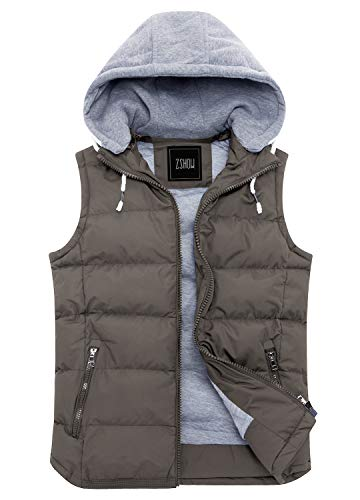Hooded Winter Vest - ZSHOW Men's Winter Removable Hooded Cotton-Padded Vest Outerwear Jackets(Brown,X-Large)