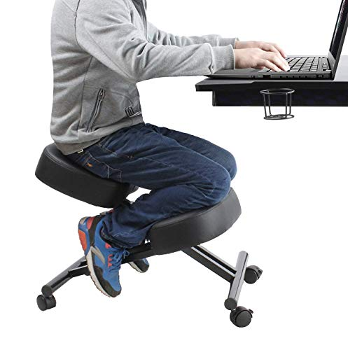 Ergonomic Kneeling Chair Home Office Chairs Thick Cushion Pad Flexible Seating Rolling Adjustable Work Desk Stool Improve Posture Now & Neck Pain – Comfortable Knees and Straight Back (Renewed)
