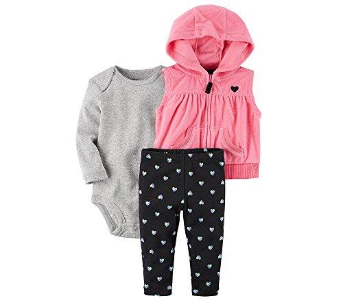 Carter's Baby Girls' 3 Piece Heart Print Little Vest Set 3 Months ()