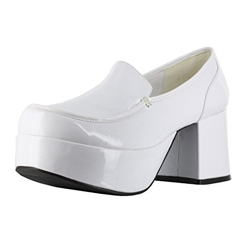Men's Slip On Platform Loafer Pimp Shoes with 3 Inch Chunky Heels White Size: Large (Mens Disco Shoes)