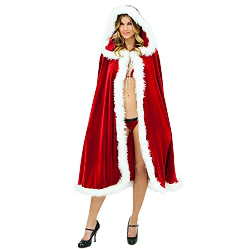 Quesera Womens Christmas Cloak Deluxe Velet Mrs Santa Hooded Cape Costume, Red, Free Size