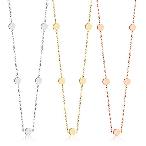 (LUXU kisskids Adjustable Coin Round Disc Choker Necklaces Chain Set for Women Girl Wedding Jewelry)