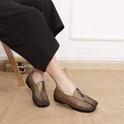 Aire 40 Zapatos Casual De Mujer Lazy Fondo Cuero Moda 2019 Suave Nuevo b Marrón Caminar Al Yan Shoes Negro Libre Inglaterra 6qR7d6