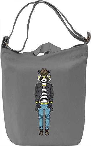 Hipster racoon Borsa Giornaliera Canvas Canvas Day Bag| 100% Premium Cotton Canvas| DTG Printing|