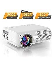 Beamer,5000 Lux Heimkino Projektor (550 ANSI) XPE660 unterstützt 1080P Full HD, Verbindung mit TV-Sticks, PS4 Xbox, HDMI, VGA, SD-Karten, AV- und USB-Geräten, Heimkino-Beamer
