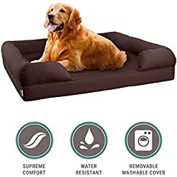 """Petlo Orthopedic Pet Sofa Bed - Dog, Cat or Puppy Memory Foam Mattress Comfortable Couch for Pets with Removable Washable Cover (Large - 36"""" x 28"""" x 9"""", Chocolate Brown)"""