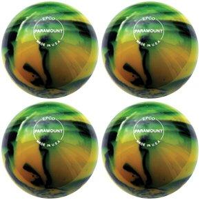 EPCO-Duckpin-Bowling-Ball-Paramount-Glow-Yellow-Black-4-Balls