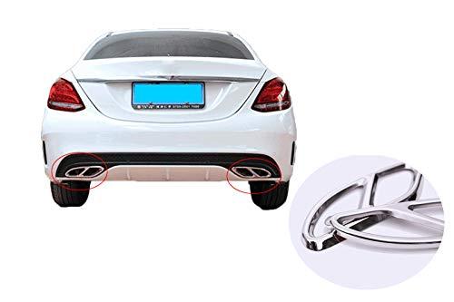 SHEAWA Rear Bumper Exhaust Tail Pipe Muffler Cover Trim Steel for Mercedes Benz E/C/GLC/A/B/GLE/GLS Class