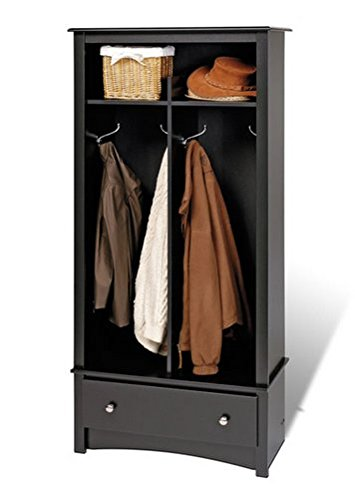 Broadway Black Entryway Organizer Hallway Furniture Clothing Storage Hall Tree Storage Bench