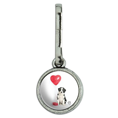Graphics and More Border Collie Dog Heart Valentines Love Antiqued Charm Clothes Purse Suitcase Backpack Zipper Pull Aid