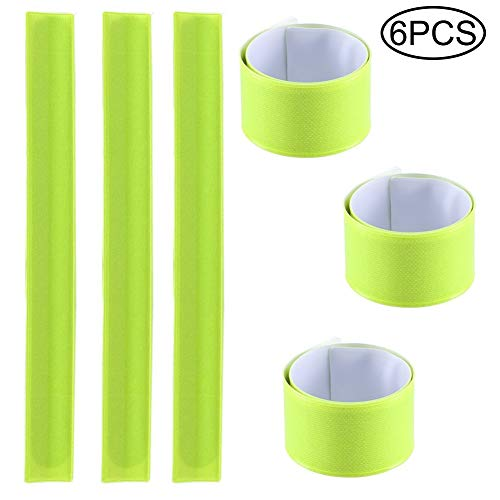 Nrpfell 6 Pack Reflector Snap Bands - 30 x 3cm High Visibility Safety Bands Arm Ankle Wrist - Neon Yellow Reflective Luminous Strips