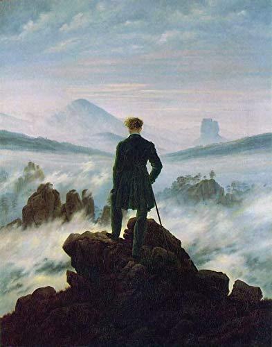 - Toperfect 50€-2000€ Handgefertigte Ölgemälde - Wanderer über dem Nebelmeer HSE Romantisch Landschaft Caspar David Friedrich M Gemälde auf Leinwand LEMN1 - Malerei Maße15