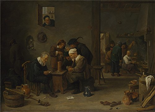 Polyster Canvas ,the High Definition Art Decorative Prints On Canvas Of Oil Painting 'David Teniers The Younger Two Men Playing Cards In The Kitchen Of An Inn ', 30 X 41 Inch / 76 X 105 Cm Is Best For Basement Decoration And Home Decor And Gifts