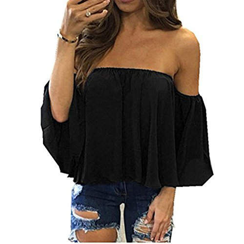 Womens Summer Short Sleeve Casual Tee Shirts Chiffon Strapless Blouses and Tops