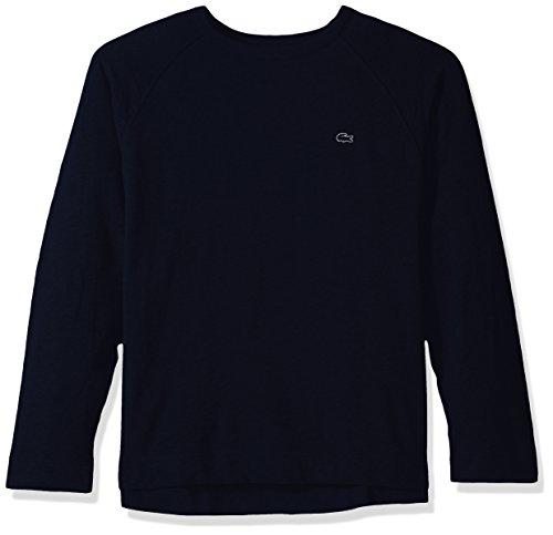 Lacoste Men's Slubby Lightweight Fleece Crewneck Sweater, SH1926, Navy Blue 4X-Large