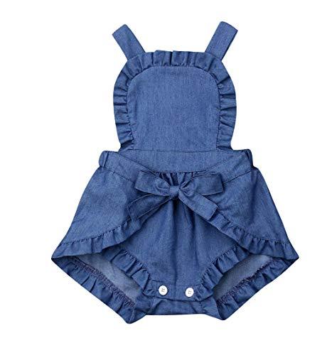 Newborn Baby Girls Short Romper Bandage Backles One-Piece Denim Bodysuit Jumpsuit (12-18M, Blue)