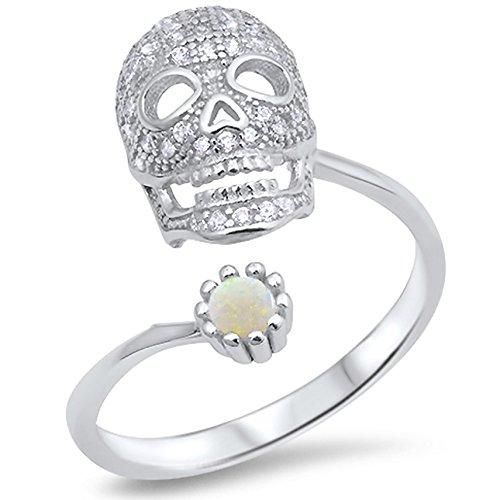 - 925 Sterling Silver Round Cabochon Natural Genuine White Opal Open Skull Biker Ring Size 8