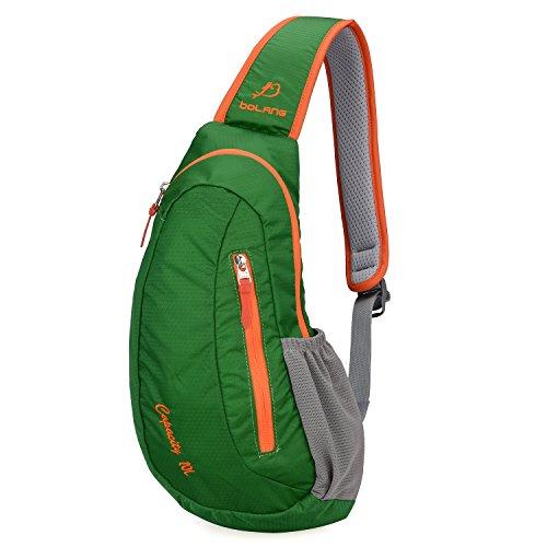 Sling Bag Bolang Chest Shoulder Fanny Backpack Outdoor Casual Daypack (Dark Green, Model 8503)