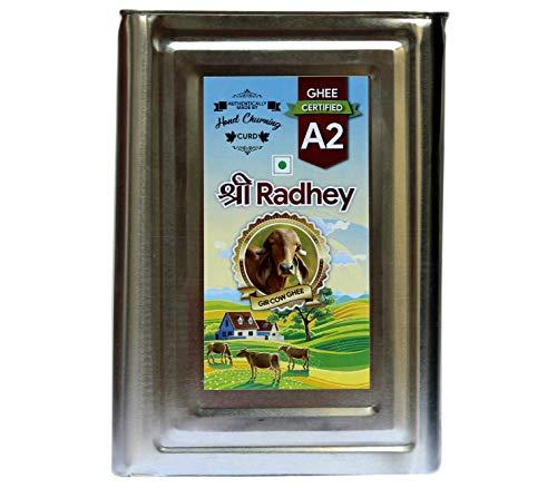 Shree Radhey Certified A2 Gir Cow Ghee - 5 Litre TIN (Traditional Bilona Churned)
