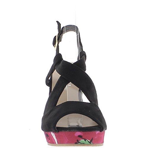 Piattaforma e nero Zeppa Sandali fiorito 10,5 cm