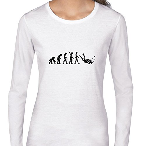 (Evolution Of Man Scuba Diver Diving Hilarious Women's Long Sleeve T-Shirt)