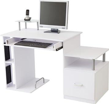 Computertisch PASCAL in 3 Farben: Weiss / Buche / Ahorn (Weiss ...