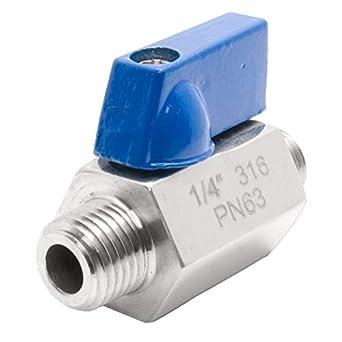 """5 Pack 1//4/"""" NPT Stainless Steel 316 mini ball valve NPT Thread Male to Female"""