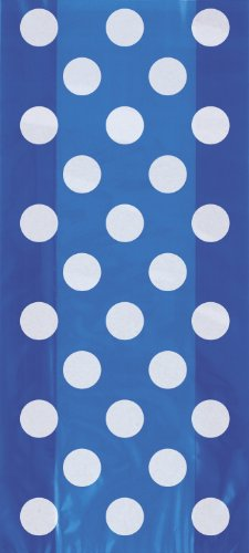 Royal Blue Polka Dot Cellophane Bags, 20ct Blue Cello Bags