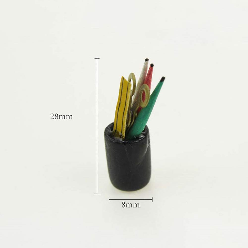 bismarckber Doll House Accessories Miniature Pen Cup with Pencil Ruler Scissor Model Kids Pretend Play Gift Toy
