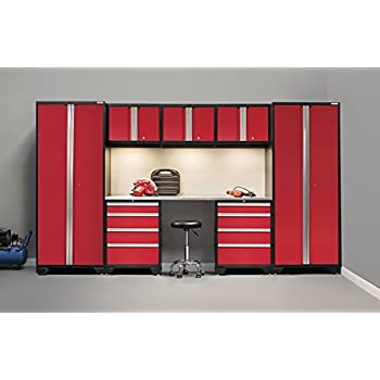 NewAge Products 50277 Bold 3.0 8Piece Cabinetry Set with Stainless Steel Work Top,, Red