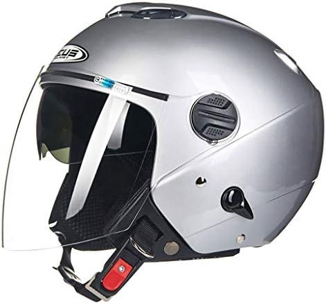 安全装置 ヘルメット - ヘルメット男性オートバイ二重レンズファッションオートバイヘルメット 個人用保護具 (色 : B, サイズ さいず : M(54-56cm))