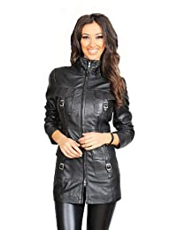 A1 FASHION GOODS Womens 3/4 Fitted Leather Coat Ladies Trendy Jacket Carol Black