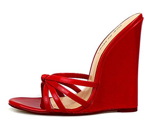 Donna Festa Pantofole Nero Estate Tacchi Piede Scivolare Rosso Sandali red 46 Dito Vestito eur42 40 Cunei uk10 Del Taglia Su Sandalo Scarpe Sbirciare F0fFr