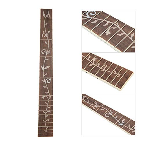 Muslady 41 Inch 20 Frets DIY Acoustic Folk Guitar Neck Replacement with Tree Pattern White shell inlay Rosewood