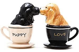 Pacific Trading Kissing Cocker Spaniel Pups in Tea Cups Magnetic Salt and Pepper Shakers Set